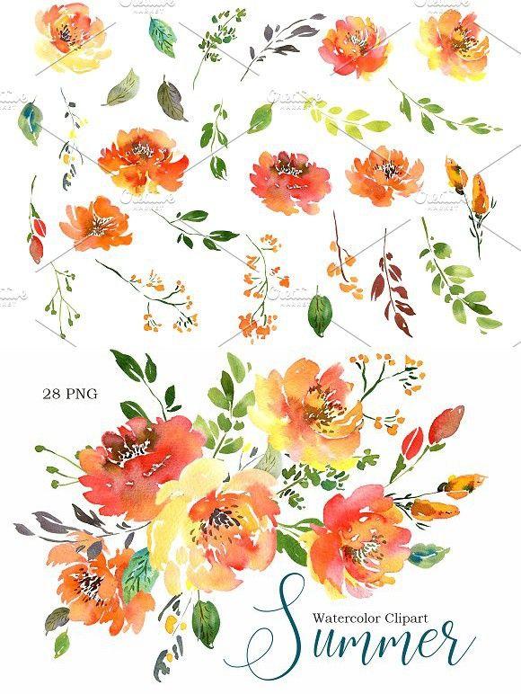 Summer Orange Watercolor Flowers Png Floral Painting Watercolor Flowers Flower Painting