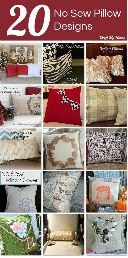 DIY 20 No Sew Throw Pillow Designs