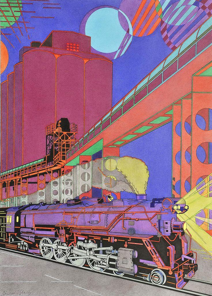 """""""Ferrocarril y claro de Luna"""". En este dibujo he querido expresar mi amor  -compartido con los futuristas- por la vieja máquina humeante en un paisaje industrial, donde la poética luna lo ilumina todo."""