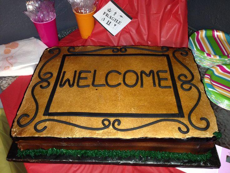 Housewarming cake- Welcome mat made from - Cinnamon Jar Cakes Houston via Facebook