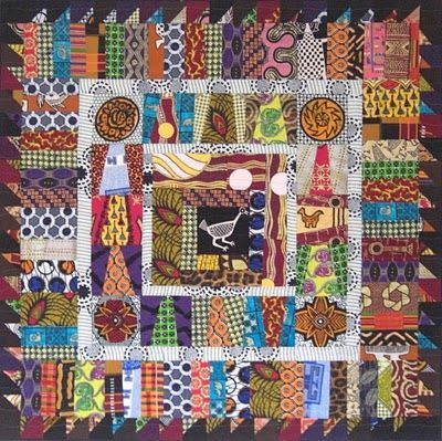 There's a vendor from Ghana who sells African scrap bundles and yardageoff the bolt. I bought some of his fabrics at the last Empire Quilters show in NYCand added it to my stash from previous shows. Then last week I turned it into this quilt. It all started with that skinny chicken in the center