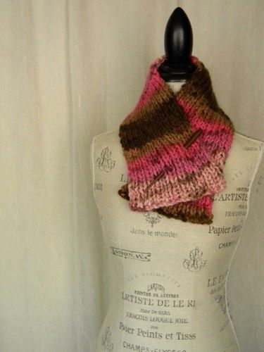 Ladies Hand Knit Neckwarmer Scarf in Pink and Brown - Handmade