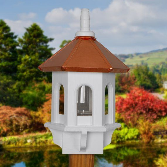Bird feeder copper and white gazebo home and garden by BeeGracious, $175.00