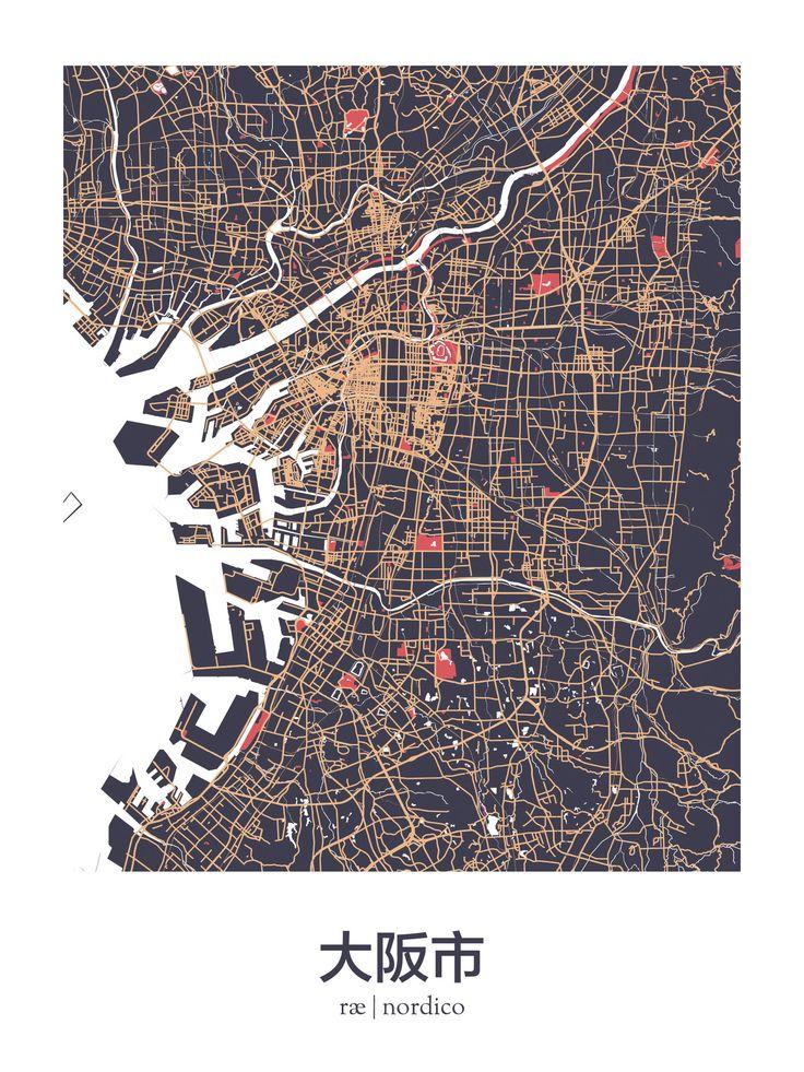 Osaka map print 73 best Maps and