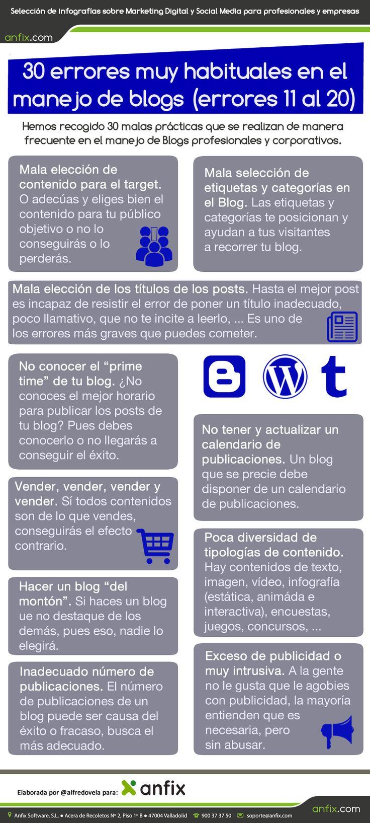 30 errores muy habituales en el manejo de blogs (errores 11 al 20) #infografia