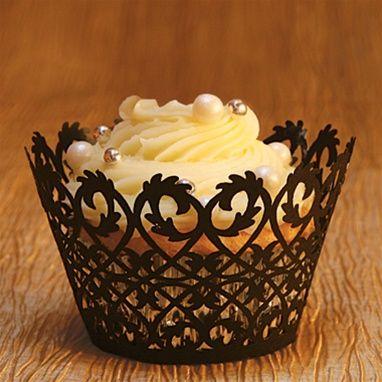 Filigree Cupcake Wrapper in Black - nice for a wedding cupcake - very elegant, dainty