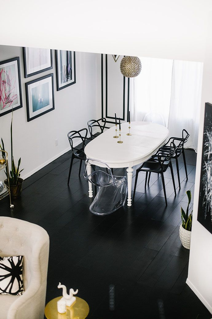 Modern Dining Room With A Settee See More Black Floors