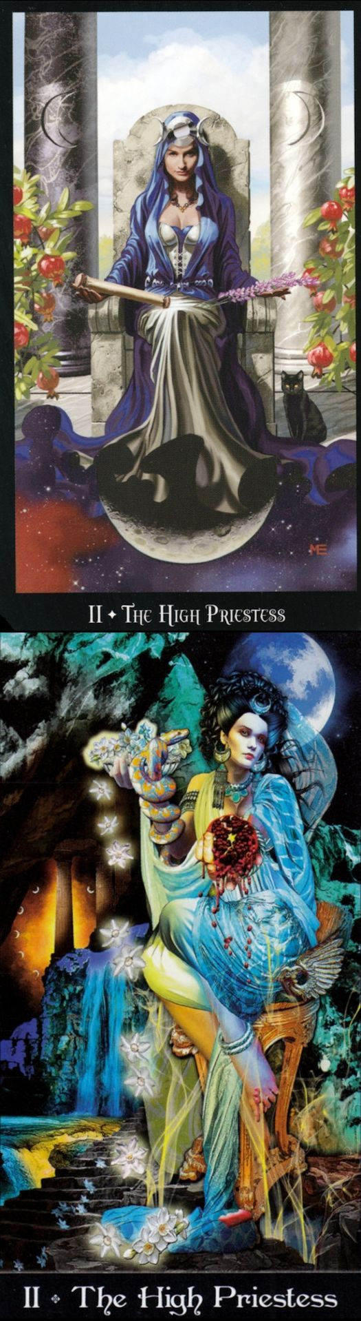 THE HIGH PRIESTESS: inner voice and repressed/unheard inner voice (reverse). Witches Tarot deck and Apokalypsis Tarot deck: tarot holder, lotus tarot free online reading vs tarot card decks. New wiccan marvel and pagan. #pentacle #ios #selfempowerment #highpriestess #unicorn #fool
