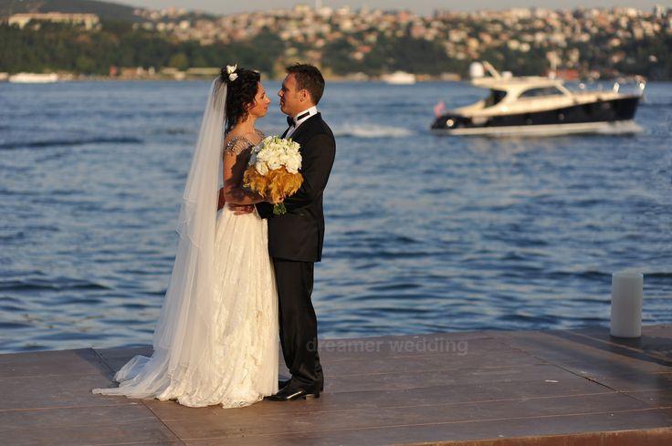 Bride and groom photo shooting on Bosphorus, Istanbul.