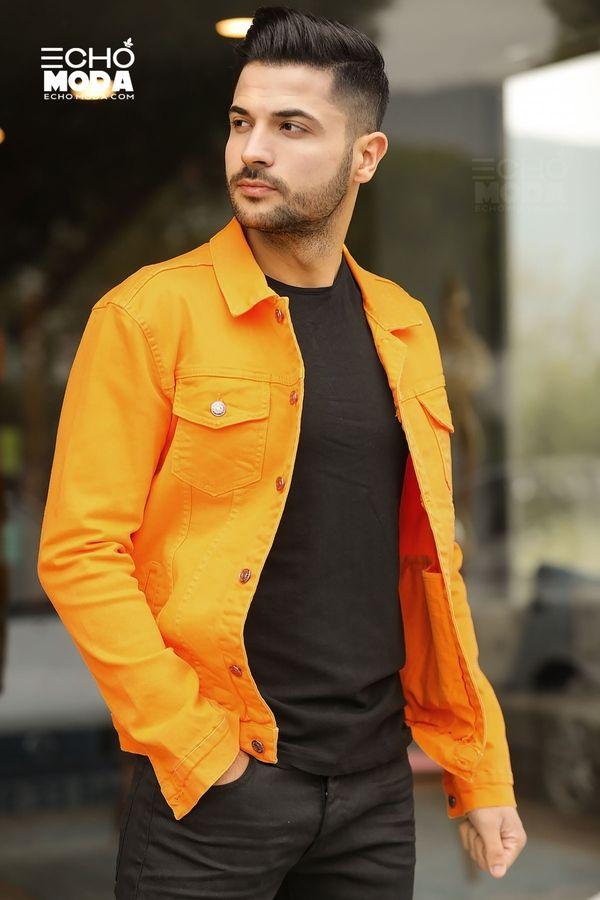 للبيع 15 جاكيت جينز دينيم شبابي كاجوال تركي 2021 Yellow Denim Denim Jacket Men Denim Jacket
