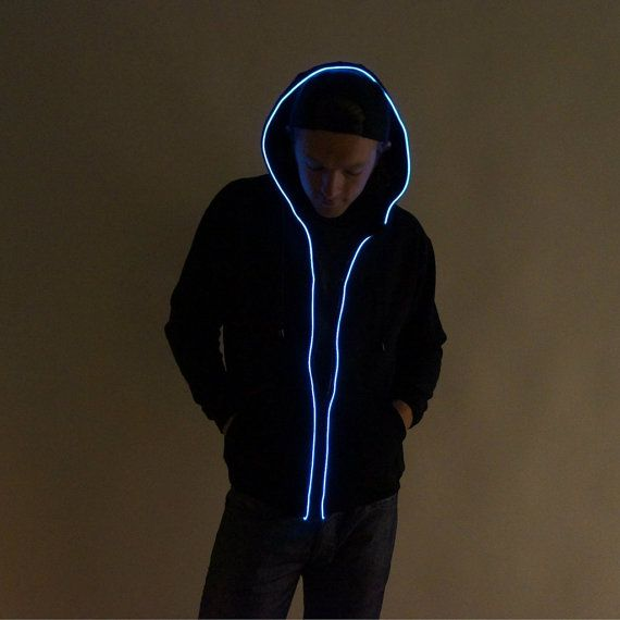 ON SALE Light Up Hoodie. El wire hoodie rave by ElectricStyles, $54.97 @Kellie Krebs got Wal covered? ;)