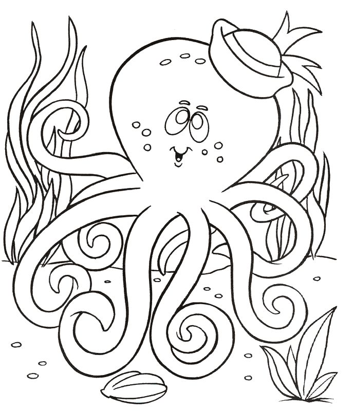 * Octopus coloring page