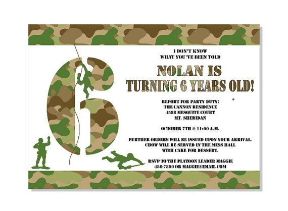 Army Camo Invitation DIY 5x7 Customized by PinkSugarPartyShop, $9.99
