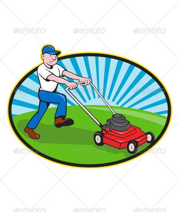 Lawn Mower Man Gardener Cartoon Lawn Mower Lawn Mower Service Mowing Services