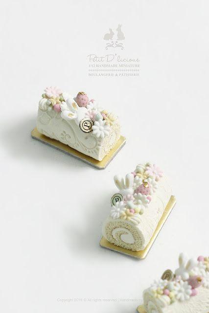 Petit D' Licious: Handmade Spring Blossom Flower Bunny Vanilla Swiss Roll Cake- Dollhouse Miniature Cake 1:12