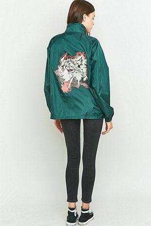 Urban Renewal Vintage Customised Wolf Print Green Nylon Jacket - Urban Outfitters