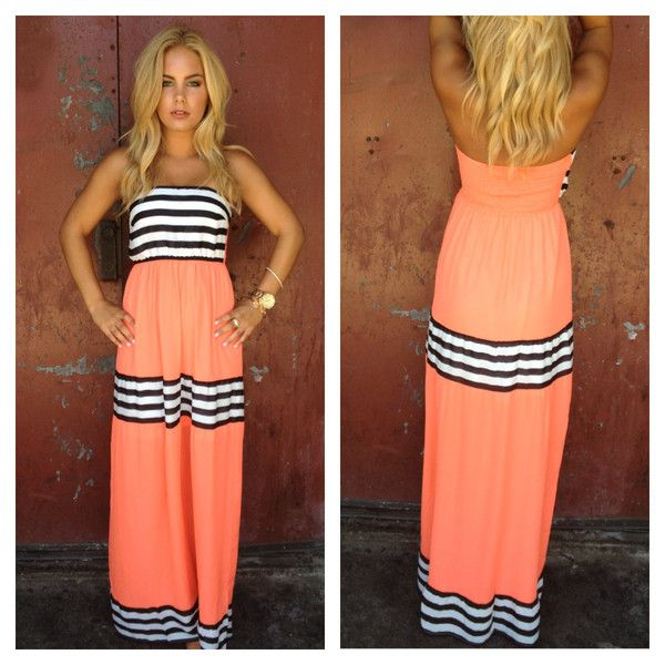 mens summer jacket Coral Stripe Strapless Cheryl Maxi Dress  Fashion