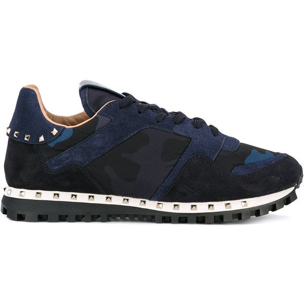 Valentino Garavani Camouflage Sneakers ($520) ❤ liked on Polyvore featuring men's fashion, men's shoes, men's sneakers, navy, navy blue mens shoes, mens navy blue sneakers, mens camo shoes, valentino mens sneakers and mens camo sneakers