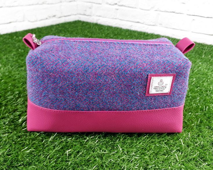 Harris Tweed Wash Bag, Faux Leather Toiletry Bag, Waterproof Washbag, Pink Harris Tweed Cosmetic Bag, Gift for Her, Zip Pouch, Handmade Bag by DippyDaisyDesigns on Etsy