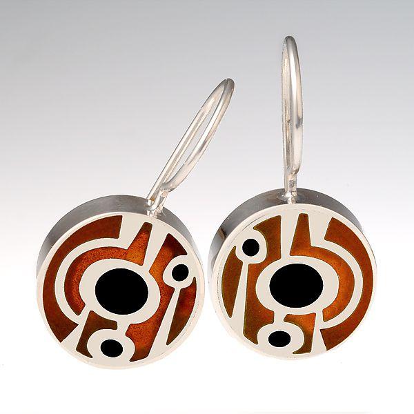 Abstract Lollipop Earrings: Victoria Varga: Silver & Copper Earrings - Artful Home