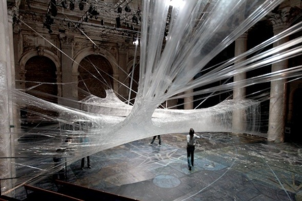 A Suspended Maze of Packing Tape image