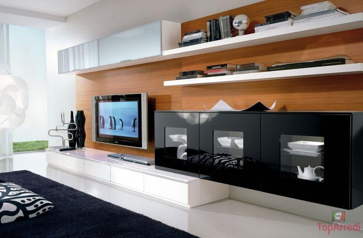 Salotto soggiorno moderno white salas tv home theater for Mobile salotto angolare