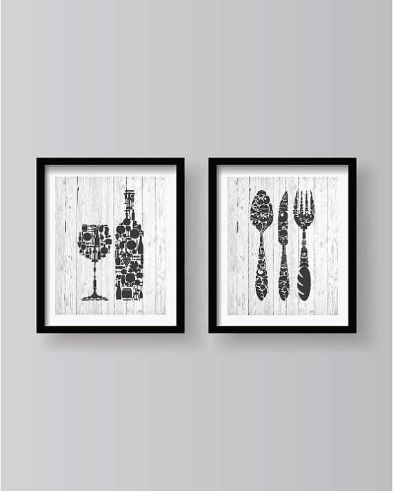 Dark Grey on a White Old Wood Background - Kitchen decor - Kitchen wall art - Kitchen print - Kitchen art - Kitchen - Kitchen poster 2set
