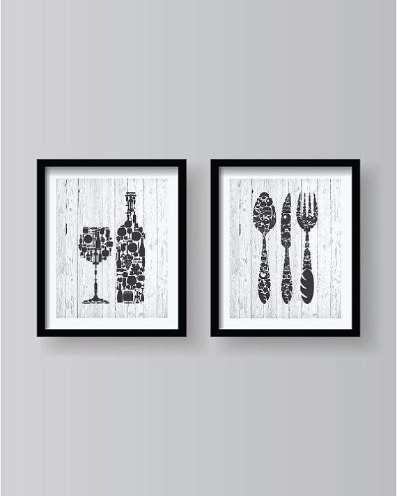 Dark Grey on a White Old Wood Background - Kitchen decor - Kitchen wall art - Kitchen print - Kitchen art - Kitchen - Kitchen poster 2set