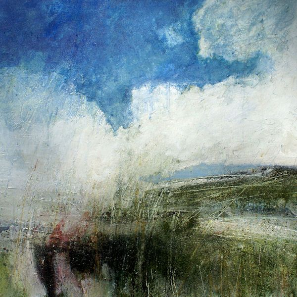 Lewis Noble Slow drifting cloud mixed media on canvas 56 x 56 cm