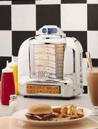 And the booths at the diners always had a jukebox like this one we could flip through! :)