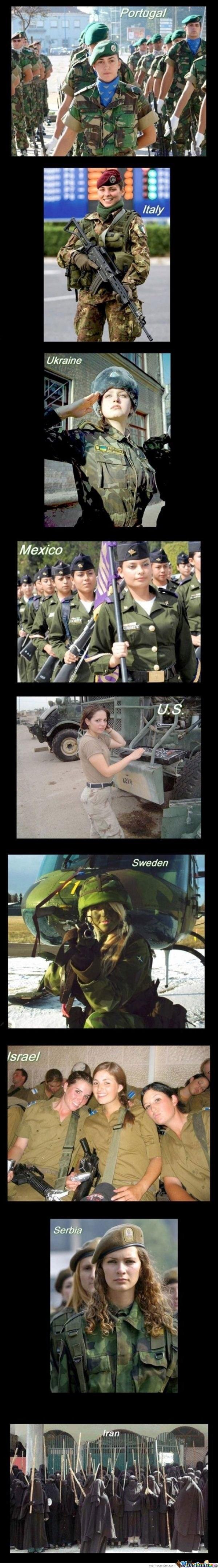 Military women around the world. And Iran.