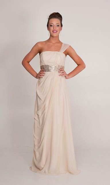 TENEIL: Grecian styling with a modern twist. Love the gold sequin and champaign colour chiffon. Perth Designer of ball gowns and Bridesmaids Dresses