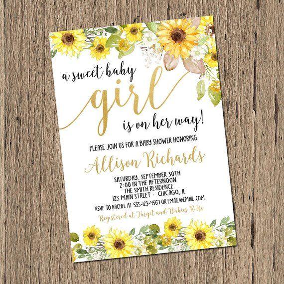 Sunflower Baby Shower Invitation Girl Sweet Baby Girl