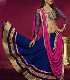 Buy Blue and Pink embroidered Georgette  lehenga-choli ghagra-choli online