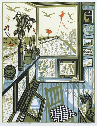 """Would personally rather have an art study with views of the coast like this one, than a man cave with a flat screen. [Richard Bawden Linocut """"Kites at Aldeburgh""""]"""