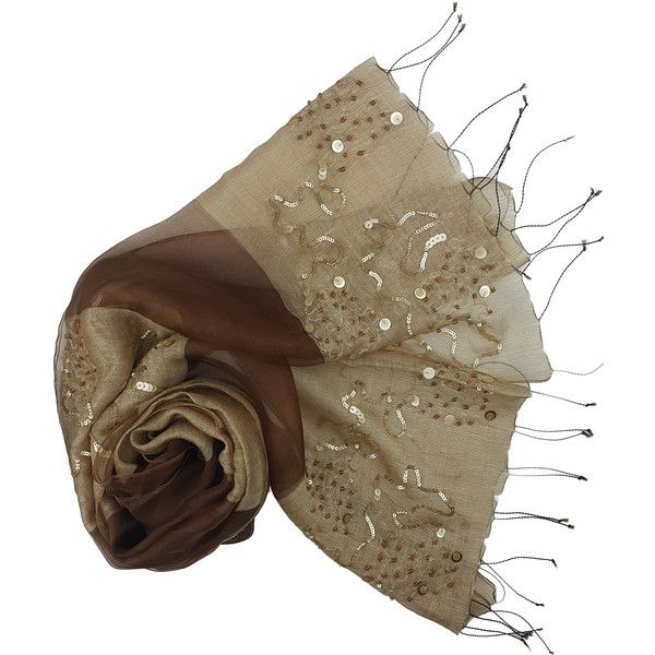 LINDA BRONZE AND BROWN SEQUIN WOOL SILK SCARF ($75) ❤ liked on Polyvore featuring accessories, scarves, brown scarves, brown shawl, silk scarves, sequined scarves and silk shawl