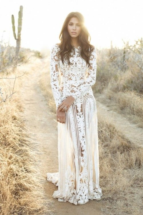 I don't know who this model is, but if I could cast her as Angela I would. I LOVE her.   http://www.weddingomania.com/the-key-bridal-trend-2015-22-nude-lace-wedding-gowns/