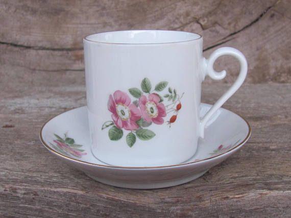 Swedish Vintage HACKEFORS Porslin Small Coffee Cup & Saucer