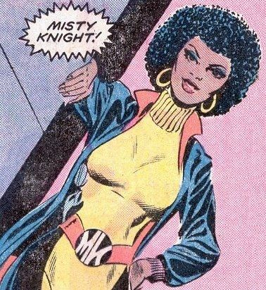 """Misty Knight (created by Tony Isabella and Arvell Jones) Marvel Comics. Misty Knight will celebrate 40 years in comics next year having first appeared in 1975. She has appeared in numerous comics including Heroes for Hire, Daughters of the Dragon and most recently Fearless Defenders."" via dcwomenkickingass. African American Black female superheroes."
