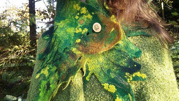 Felt scarf woodland neck warmer felted forest wearable art