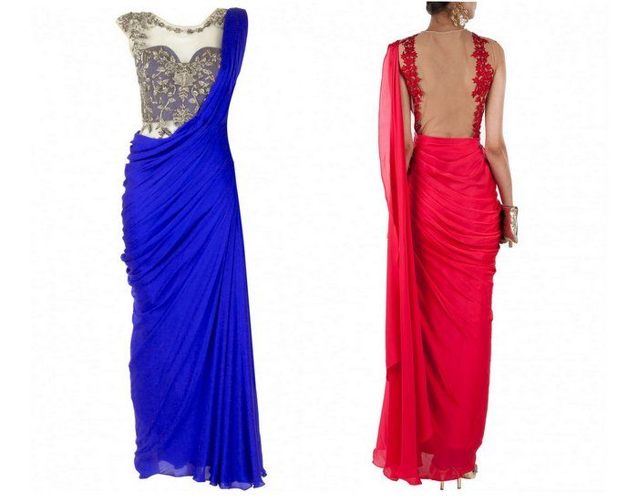 Wedding Cocktail Gowns - Indo Western Outfit | Backless Blouse | WedMeGood  #wedmegood #gowns #blue #red #cocktail