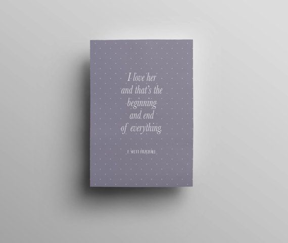 F. Scott Fitzgerald Literary Poster Literary in Lilac Grey by shopnevermore