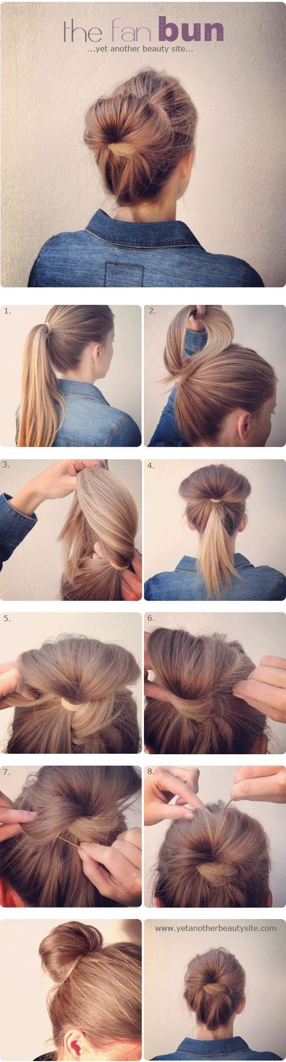 This is by FAR my favorite, quick & easy up-do! Been doing this look for months now, only higher up on my head... looks totally cute with a flower pin accent!: