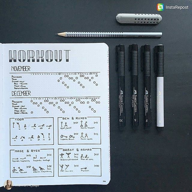 Super exercise schedule for @malwal94_bujo (IG bulletjournalcollection)