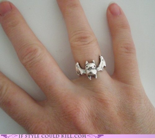 Bats are like tiny little flying hamsters. So cute. I would like this on my finger.