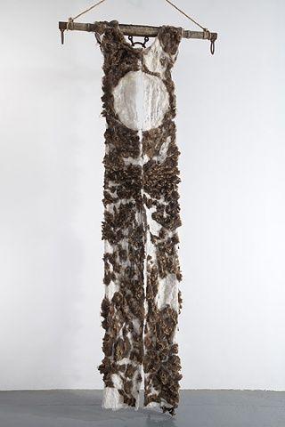 Moira Bateman | Nightdress 5, Mnemosyne Series  2012 | linen + onion skin dye + raw wool + ox yoke + rope