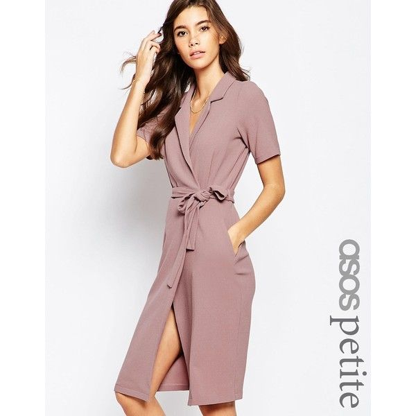 ASOS PETITE Belted Shirt Dress with Wrap Front ($72) ❤ liked on Polyvore featuring dresses, black, black vneck dress, black v neck dress, asos, v neck dress and belted dress