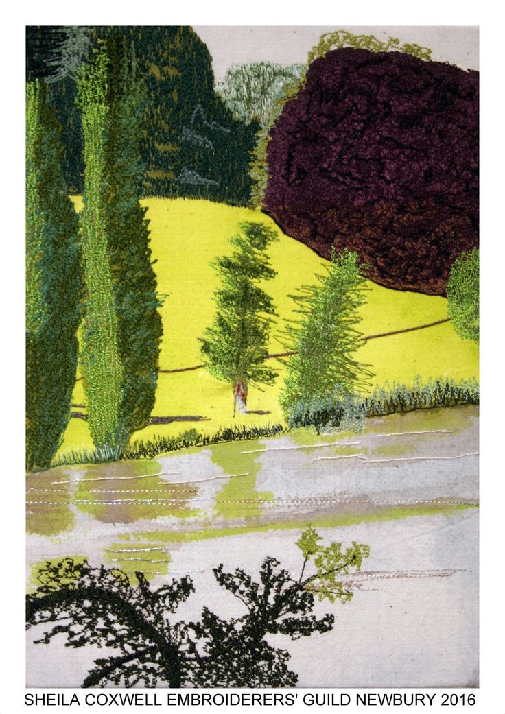 """""""A Sunny August Day"""" by Sheila Coxwell, Newbury branch of Embroiderers' Guild. Part of """"Celebrating 300 years of Capability Brown"""" exhibition at Blenheim Palace 13 April - 2 May 2016. Exhibition held as part of the UK's Capability Brown Festival"""