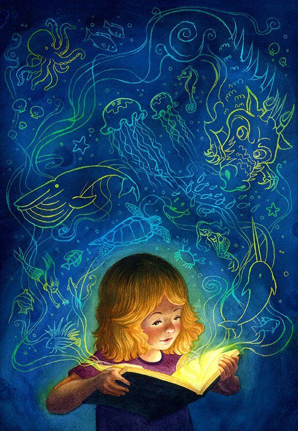 La magia de la lectura (ilustración de Isabella Kung)
