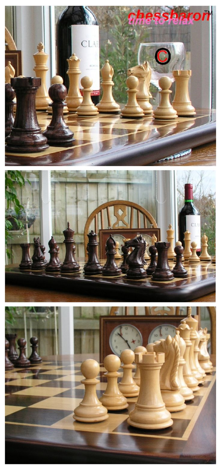 A Beautiful Solid Rosewood Chess Set. This Set Is A Great Example Of A  Luxury